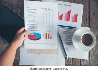 Excel graph with Spreadsheet Document showing Information Financial Startup Concept. Financial Planning making Accounting Database Report. Graphs and chart on screen with stationery set business stuff