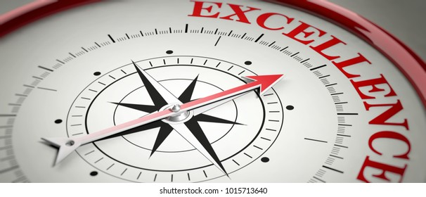 Excellence concept. Compass red arrow pointing at red letters word Excellence. 3d illustration