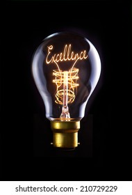 Excellence concept in a filament lightbulb.