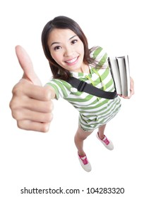 excellence - girl student thumbs up hand gesture with smile in full length and high angle view isolated on white background, model is a asian woman