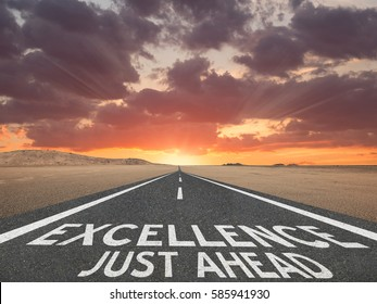 Excellence Just Ahead highway text success concept