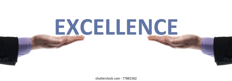 Excellence message in male hands