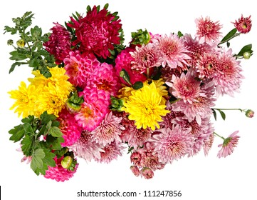 Excellent bouquet of autumn flowers isolated on white