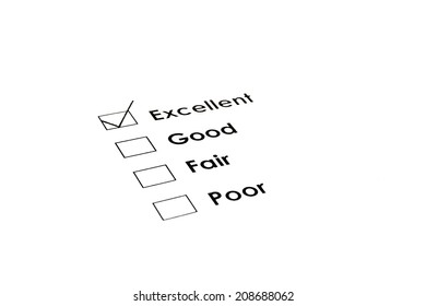 Excellent checked on performance evaluation form.