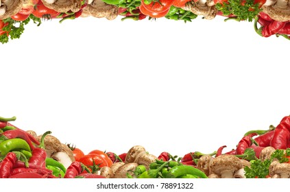 Excellent combination of hot pepper of mushrooms of greens and tomatoes