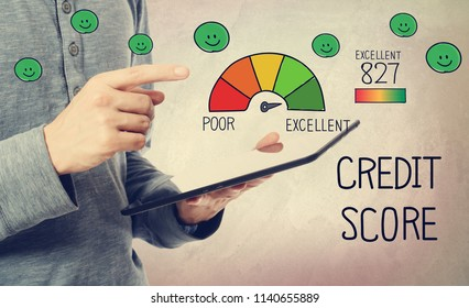 Excellent Credit Score with man holding a tablet computer