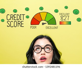 Excellent credit score theme with young woman wearing eye glasses