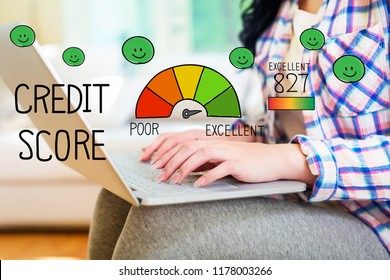 Excellent Credit Score with young woman using a laptop computer
