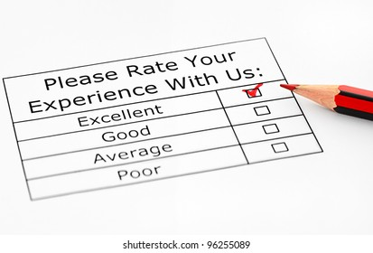 Excellent experience check-box in customer service survey