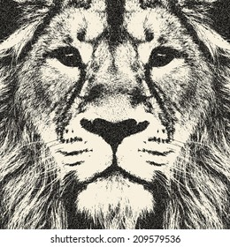 Excellent face of a lion. The King of beasts, biggest and most dangerous cat of the world. Amazing monochrome illustration in retro style. Great for user pic, icon, label, tattoo. Horoscope symbol.