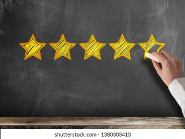 excellent five star customer feedback or client service rating on blackboard