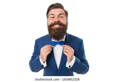 Excellent look. Think Different. Event manager. Business in modern life. Groom ready for wedding. Bearded man in formal suit. Businessman with beard wear bow tie. Modern business. Personal party.