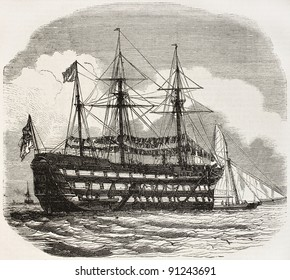 The Excellent old illustration, British navy gunners training ship in Portsmouth. By unidentified author, published on L'Illustration, Journal Universel, Paris, 1858