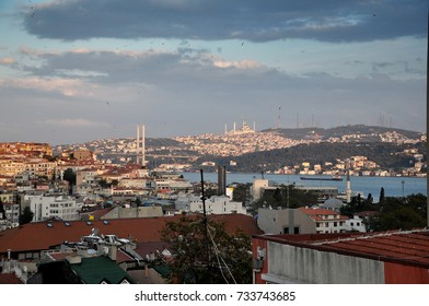 Excellent sky, wide angle city view. Clouds and transition. Bosphorus. Istanbul.