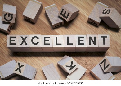 Excellent Word Written In Wooden Cube