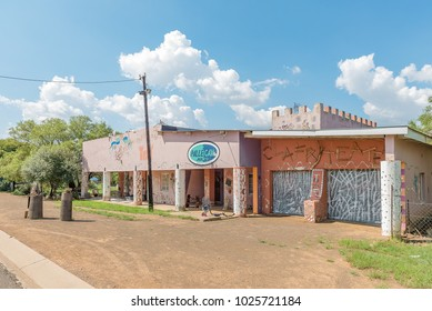 EXCELSIOR, SOUTH AFRICA, FEBRUARY 9, 2018: A street scene, with an art gallery and guest house, in Excelsior, a small town in the Free Strate Province