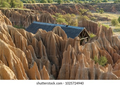 EXCELSIOR, SOUTH AFRICA, FEBRUARY 9, 2018: A wedding chapel in an erosion canyon at sunset at Korannaberg Adventures near Excelsior in the Free State Province of South Africa