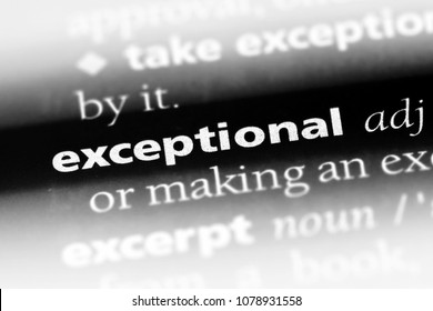 exceptional word in a dictionary. exceptional concept