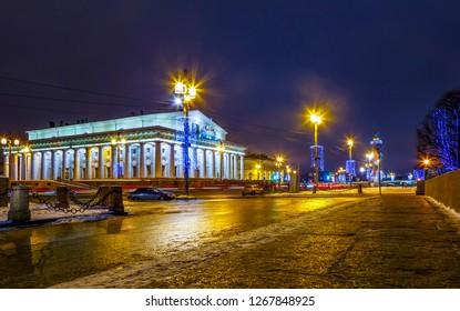 Exchange Building, Exchange Square Birzhevaya Ploshchad and Birzhevoy Proezd at night in March on Vasilyevsky Island, St. Petersburg, Russia