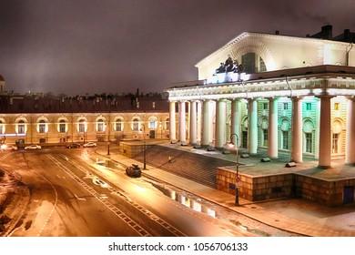 Exchange Building (Zdanie Birzhy), Exchange Square (Birzhevaya Ploshchad) and Birzhevoy Proezd at night in March on Vasilyevsky Island, St. Petersburg, Russia