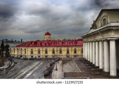 Exchange Building (Zdanie Birzhy), Exchange Square (Birzhevaya Ploshchad) and Birzhevoy Proezd  in March on Vasilyevsky Island, St Petersburg, Russia