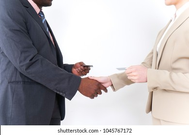 Exchanging business cards images stock photos vectors shutterstock exchange of business cards colourmoves