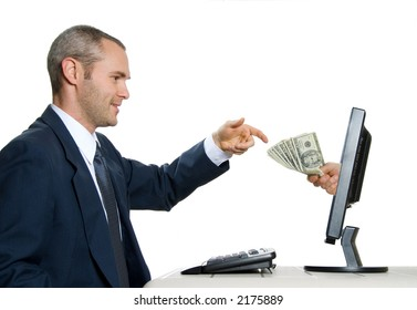 exchange of money on the internet isolated