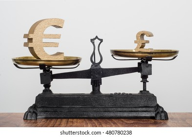 Exchange rate, Bigger Euro symbol heavier than the smaller pound symbol. Currency on antique balance scales.