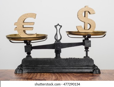 Exchange rate, Dollar higher than the Euro. Currency on antique balance scales.