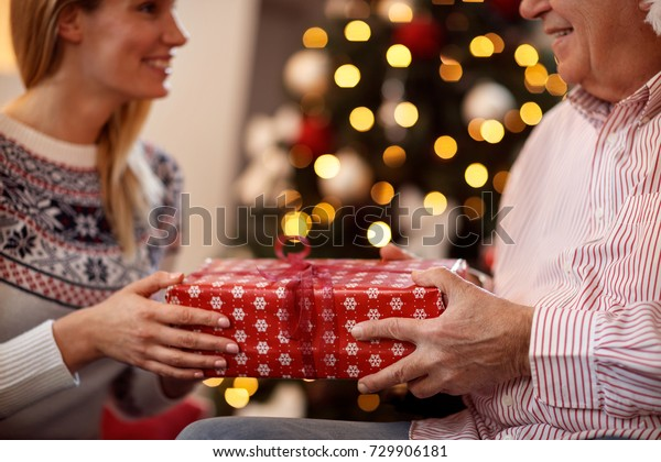 Exchanging Christmas Gifts close up