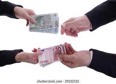 exchanging money isolated on white background