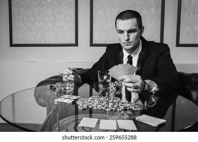 Excitable guy playing poker