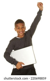 Excited African American Boy with his new laptop computer on a white background