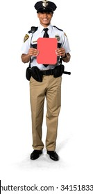 Excited African young man with short black hair in uniform holding medium sign - Isolated
