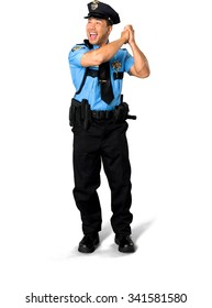 Excited Asian man with short black hair in uniform celebrating - Isolated