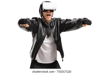 Excited biker with a VR headset pretending to drive a motorcycle isolated on white background