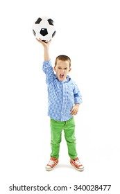 Excited boy is holding a football ball made of genuine leather. Isolated on a white background. Soccer ball