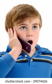 Excited Boy Talking on Phone