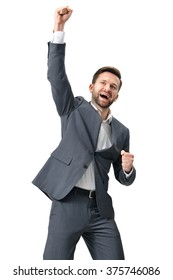 Excited businessman celebration success. Isolated on white background