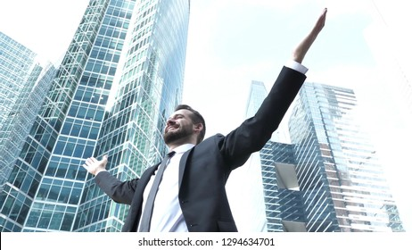 Excited Businessman Feeling Free and Successful