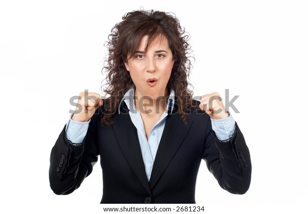Excited businesswoman gesture over a white background