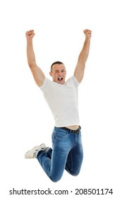 Excited Casual Happy Young Caucasian Man Clenching His Fists and jumping up in air, Isolated Over White Background, success finally