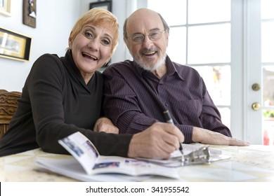 Excited Caucasian elderly men with short red hair