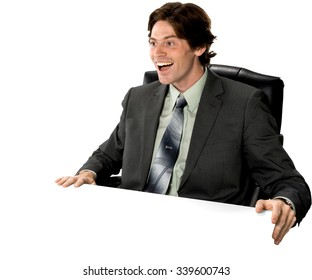 Excited Caucasian man with short dark brown hair in business formal outfit - Isolated