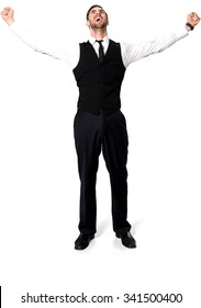 Excited Caucasian man with short dark brown hair in business casual outfit with arms open - Isolated