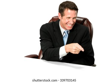 Excited Caucasian man with short medium blond hair in business formal outfit pointing using finger - Isolated