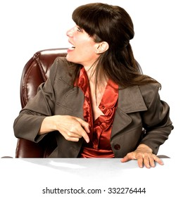 Excited Caucasian woman with long dark brown hair in business formal outfit pointing using finger - Isolated