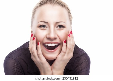 Excited Caucasian Woman Looking Forward  with Joy, Fascination and Obsession. Closeup Portrait.Isolated on Pure White Background. Horizontal Image