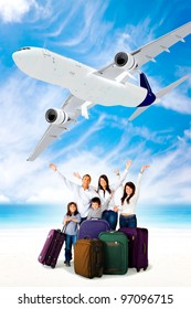 Excited family going on holidays by airplane
