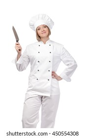 excited female chef, cook or baker with knife isolated on white background